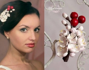 flower hairpin, cherry hairpiece, flower girl, girl gift, bride headband, bridesmaid headband, cherry