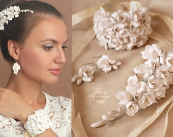 bride jewellery set, flower set, wedding stuff, bride hairclip, ivory hair, bridesmaids, ivory headband, ivory bracelet, ivory earrings