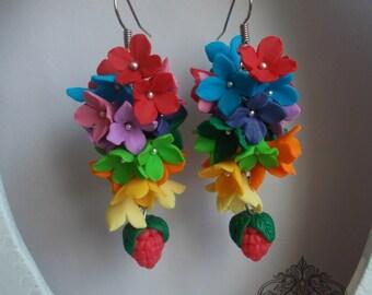 berries earrings,flower earrings, wild flowers, berries earrings, stylish earrings, handmade, gift earrings