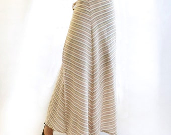 Strengthened long wrap skirt in beige