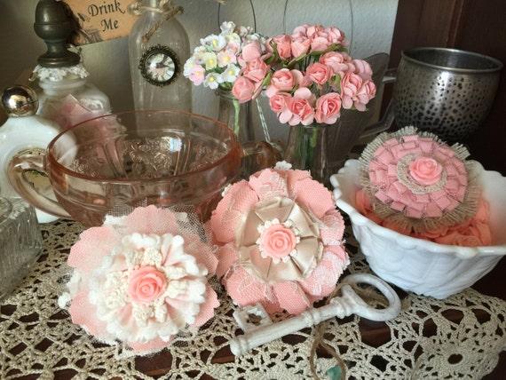 Used Shabby Chic Wedding Decorations : Shabby chic fabric flower wedding decor vintage