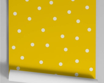 Wallpaper yellow Polka