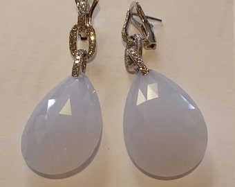 Tear Drop Milk Quartz Earrings Pave diamonds set in 18 kt white gold