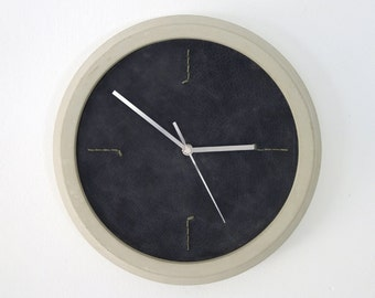 Modern Wall Clock, Unique Wall Clock, Black Wall Clock, Concrete And Leather Wall Clock, Industrial Wall Clock, Round Wall Clock