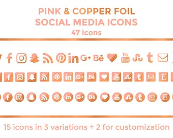 Pink Copper Social Media Icons Buttons Website Icons Pink Copper Foil Blog Icons Copper Social Media Icons Social Media Graphics Twitter
