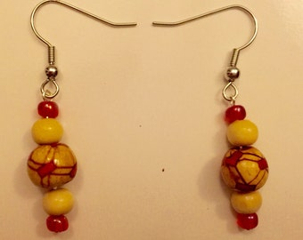 Handmade One of a Kind Red Wooden Earrings