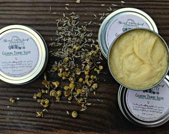 Calming Tummy Salve for Pregnant Mamas / All Natural & Organic / Lavender and Chamomile / Soothing and Relaxing / Pregnancy / Stretch Marks