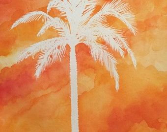Sunset Palm (Original Watercolor)