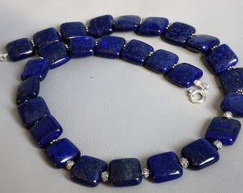 chain of natural Lapis Lazuli with 925 sterling silver between beads and clasp-gemstone necklace