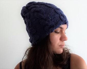 Hat Knit Beanie,  Knit Hat,  handknitted Hat,  handmade Beanie,  Knitted Hat,  Winter hat, Hat woman, Dark blue hat, Navy blue hat