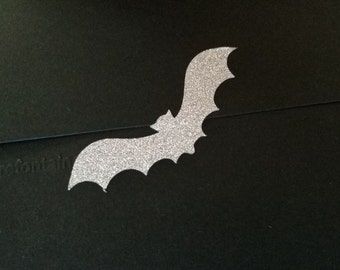 20 glitter bat stickers,  gold or silver bat labels, bat party decor, bat Birthday, gold glitter bat wings, bat envelope seal