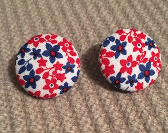 Fabric button earring red and blue floral