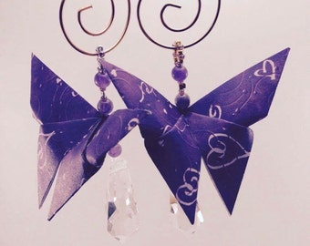 Purple Butterfly Christmas Ornaments