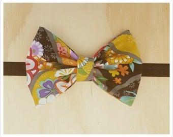 Bow headband - floral headband - black floral headband - oriental headband - embellished headband