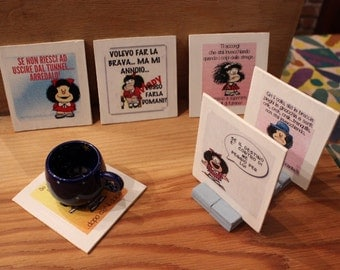 Under glasses or Mafalda handmade wooden under Cup