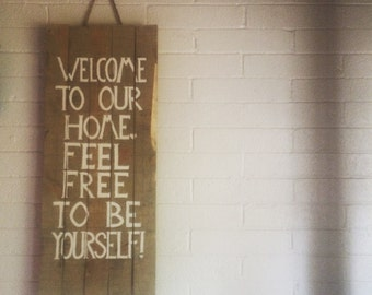 Wall Deco Reclaimed Wood Welcome Sign (Welcome to our home..)