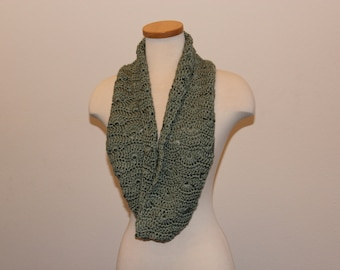 Crochet Green Scarf, Green Wide Infinity Scarf, Pea Green Infinity Scarf, Green Wavy Fan Stitch Scarf, Green Well-Being Scarf