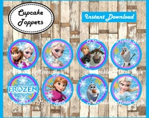 frozen cupcakes toppers, printable frozen party toppers,  frozen cupcakes toppers