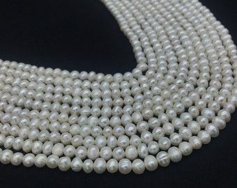 4-5mm White Natural Pearl Potato Beads,White Cultured Pearl Baroque,White Freshwater Pearl Beads,White Pearl Beads,Wholesale Pearl Beads