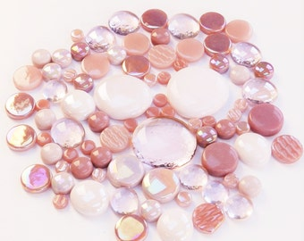 200g Round Mix of Glass Pebbles & Mosaic Tiles - Pink
