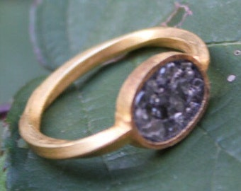 Diamond ring, gold plated, solid silver ring with rough diamonds, raw stone, engagement ring, anniversary ring
