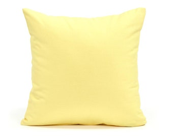 """16""""X16"""" Solid Pastel Yellow Decorative Cushion Throw Pillow Cover"""