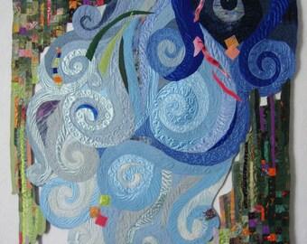 nature art quilt, Textile Wall Art, unusual shape quilt, Abstract Wallhanging, Green Grass, blue Water, Bright joyful art quilt, spring flow