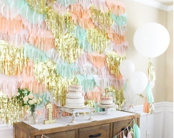 Pink, Peach, Mint and Metallic Gold Backdrop Garlands
