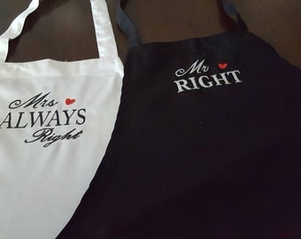 MR. RIght and Mrs. RIght Embroidered Apron