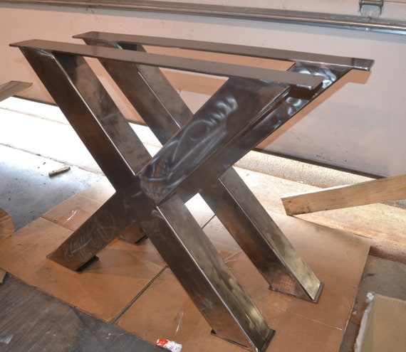 Metal table legs industrial x frame style any size and - Table salle a manger metal et bois ...