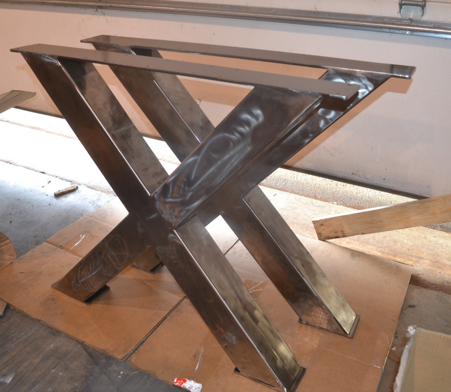 Metal table legs industrial x frame style any size and for Table extensible metal bois