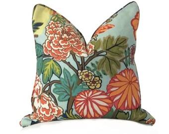 Aqua Pillow, Decorative Pillow, Turquoise Pillow, Chinoiserie Print, Floral Pillow, Schumacher Fabrics, Chiang Mai Dragon, Aquamarine