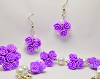 """Set Rose """"Purple"""" made of polymer clay"""
