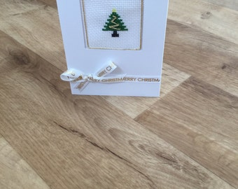 Hand stitched Christmas card - tree