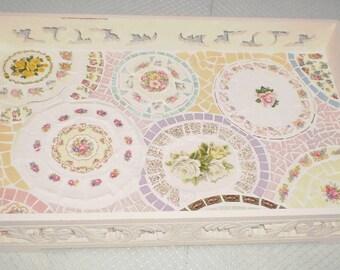 Mosaic serving tray vintage shabby chic country Mornington Peninsula