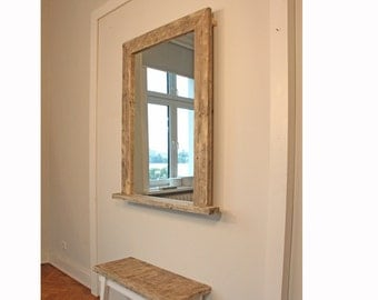 Rustic wall mirror with shelf for hallway or bathroom