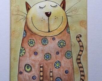 Original painting, cat watercolour, folk art, cat art, cat picture, cat, cat lover, crazy cat lover, mad cat lady, folk,
