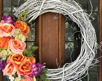 Bright Floral Wreath, Front Door Wreath, Grapevine Wreath, Spring Wreath