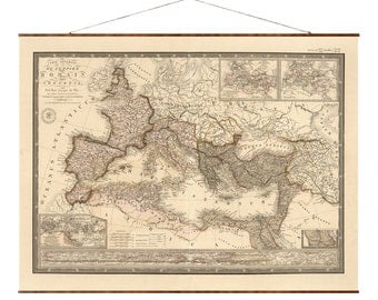"Roman Empire Map, 33""x44"" Canvas Map, antique maps, giant map, vintage canvas maps, italy map, map of rome"