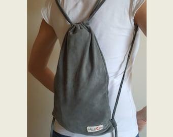 Grey Suede Medium Backpack