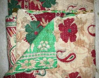 Vintage Beautiful Kantha Quilt, Exclusive Handmade Cotton Blanket Traditional Gudri, Bedspread, Throw, Free International Shipping