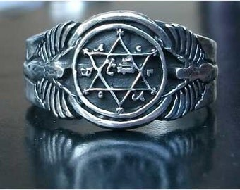 King Solomon's magic ring good luck all luck in silver fine.925 Sterling Silver