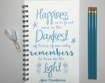 Happiness Can Be Found, Journal, Bullet Journal, Notebook, Hary Potter Journal, Harry Potter Gift, Harry Potter, Albus Dumbledore Quote,