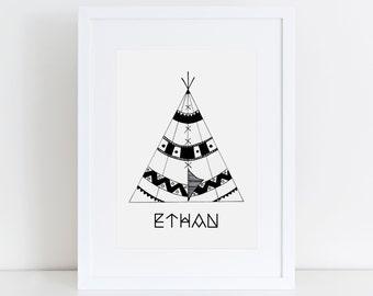 Custom Name Print, Nursery Art, Printable Art, Boys Print, Girls Print, Kids Art, Baby Name Printable, Couple Print, Tent illustration, Gift