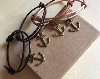 Bronze anchor leather cord bracelet