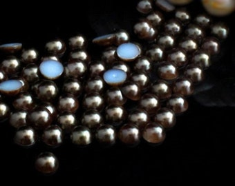 1000 DARK COFFEE Half Round Imitation *Pearl Beads*   2mm, 3mm, 4mm, 5mm.