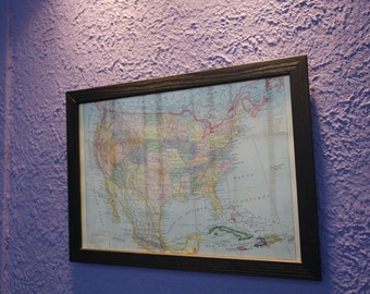 Old map of the United States (1924) - original vintage of the United States in 1924 color map (21cm x 29, 7cm)-sold box