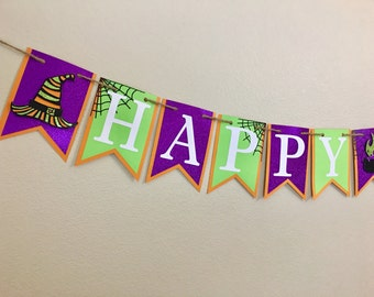 Glitter Happy Birthday Banner, Halloween Theme Banner, Birthday Banner, Halloween Banner, Birthday Party, Halloween Birthday, Photo Prop