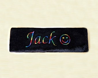 1 x Black Personalised Embroidered Seat Belt Pad/Cover Smiley