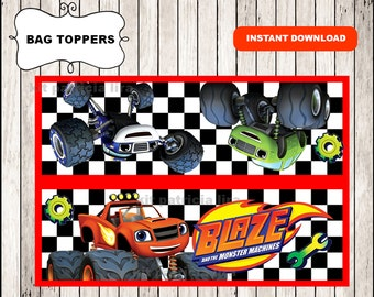 Blaze and the Monster Machines bags toppers instant download , Blaze and the Monster Machines toppers, Printable Monster Machines bags